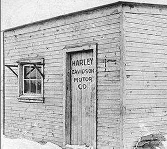Harley-Davidson startup in shed